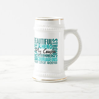 Tribute Square Cousin Ovarian Cancer 18 Oz Beer Stein
