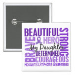 Tribute Square Daughter Hodgkins Lymphoma Pinback Button