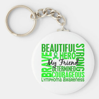 Tribute Square Female Friend Lymphoma Basic Round Button Keychain