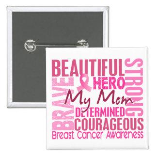 Tribute Square Mom Breast Cancer Button