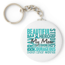 Tribute Square Mom Ovarian Cancer Keychain