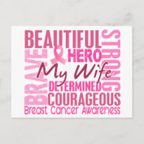 Tribute Square Wife Breast Cancer Postcard