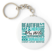Tribute Square Wife Ovarian Cancer Keychain