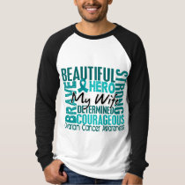 Tribute Square Wife Ovarian Cancer T-Shirt