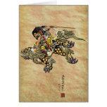 Tribute to Hokusai - Shoki Riding Shishi Lion Greeting Card