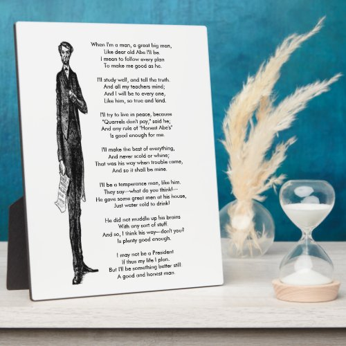 Tribute to President Abraham Lincoln Vintage Poem Plaque