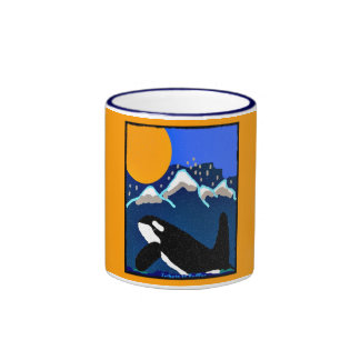 tribute to Ruffles Killer Whale blue and yellow co Ringer Mug
