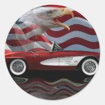 Tributo 1961 del Corvette Etiquetas Redondas