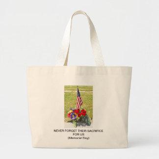 Tributo conmemorativo del día de veteranos bolsa de tela grande