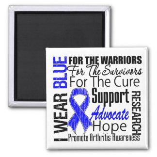 Tributo de Blue Ribbon del desgaste de la artritis Imán Cuadrado