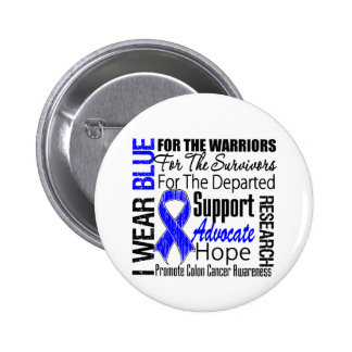 TRIBUTO de Blue Ribbon del desgaste del cáncer de  Pin Redondo 5 Cm