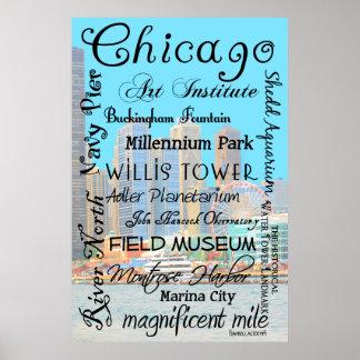 Tributo de Chicago con el fondo del horizonte de C Póster
