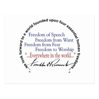 Tributo de las libertades del FDR cuatro Postal