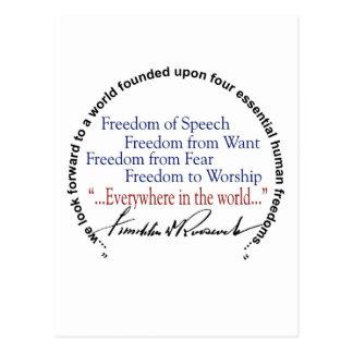 Tributo de las libertades del FDR cuatro Tarjetas Postales