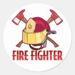 Tributo del bombero etiquetas redondas