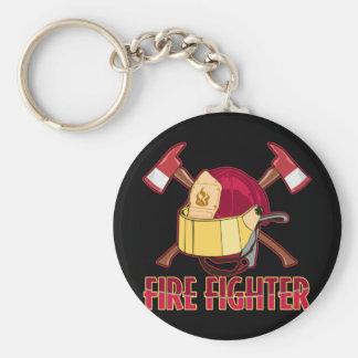 Tributo del bombero llavero redondo tipo pin