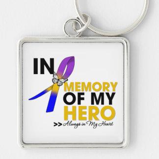 Tributo del cáncer de vejiga en memoria de mi héro llavero cuadrado plateado