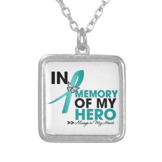 Tributo del cáncer ovárico en memoria de mi héroe colgante cuadrado