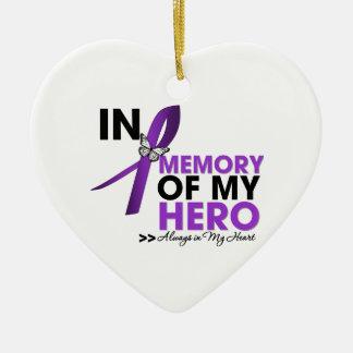 Tributo del cáncer pancreático en memoria de mi adorno navideño de cerámica en forma de corazón