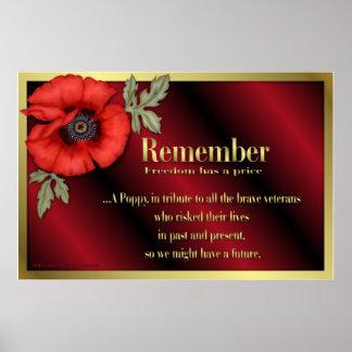 Tributo del veterano con la amapola roja póster