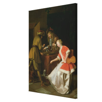 Tric-trac Players with a Lady and Her Dog Stretched Canvas Print