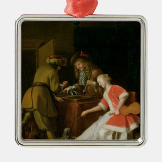 Tric-trac Players with a Lady and Her Dog Metal Ornament