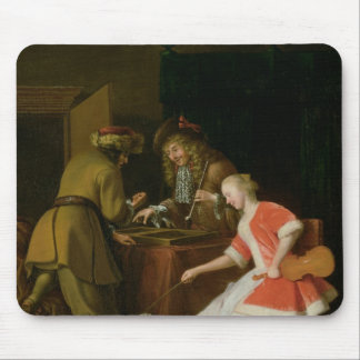 Tric-trac Players with a Lady and Her Dog Mouse Pad