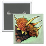 Triceratops 2 Inch Square Button