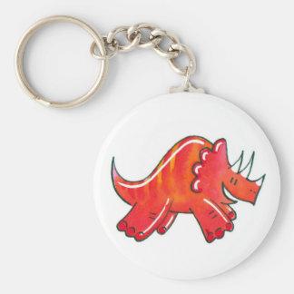 Triceratops Basic Round Button Keychain