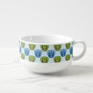 Triceratops Blue and Green Cute Dinosaur Pattern Soup Mug