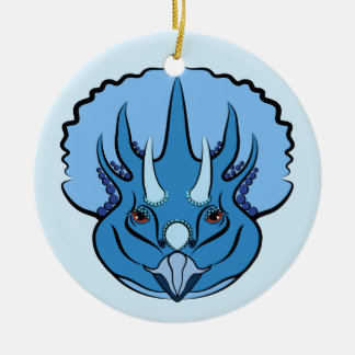 Triceratops Blue Cute Dinosaur Ceramic Ornament