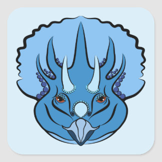 Triceratops Blue Cute Dinosaur Square Sticker