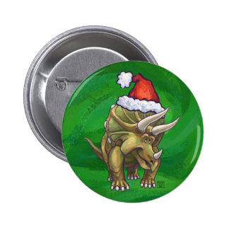 Triceratops Christmas Green Pinback Button