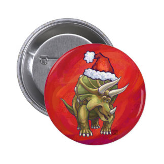 Triceratops Christmas On Red Pinback Button