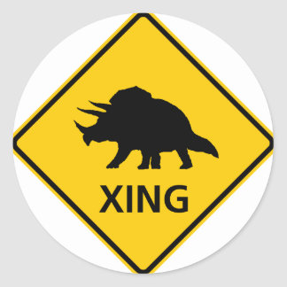 Triceratops Crossing Highway Sign Dinosaur Classic Round Sticker