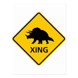 Triceratops Crossing Highway Sign Dinosaur Postcard