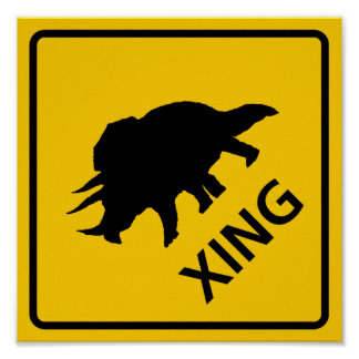 Triceratops Crossing Highway Sign Dinosaur Poster