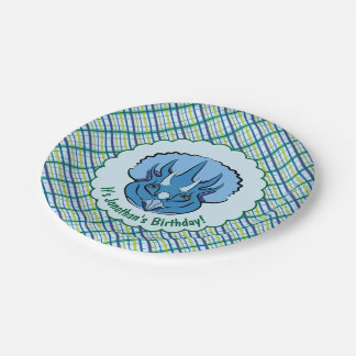Triceratops Cute Blue Dinosaur on Plaid Paper Plate