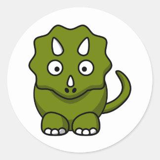 Triceratops del dibujo animado etiqueta redonda