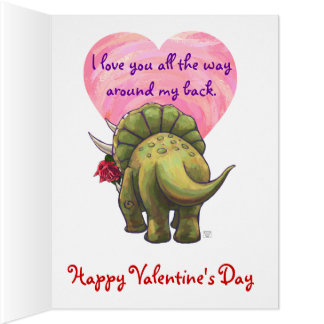 Triceratops Dino Rose and Heart Card