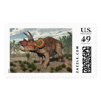 Triceratops dinosaur - 3D render Postage