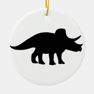 Triceratops Dinosaur. Double-Sided Ceramic Round Christmas Ornament