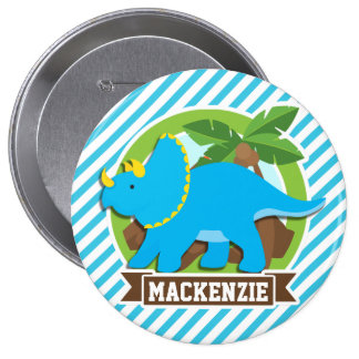 Triceratops Dinosaur; Sky Blue & White Stripes Pinback Button