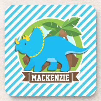 Triceratops Dinosaur; Sky Blue & White Stripes Beverage Coasters