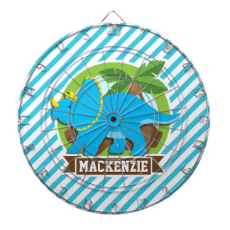 Triceratops Dinosaur; Sky Blue & White Stripes Dart Board
