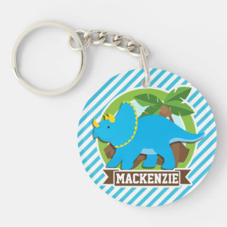 Triceratops Dinosaur; Sky Blue & White Stripes Double-Sided Round Acrylic Keychain