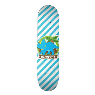 Triceratops Dinosaur; Sky Blue & White Stripes Skateboard Deck