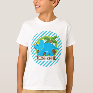 Triceratops Dinosaur; Sky Blue & White Stripes T-Shirt
