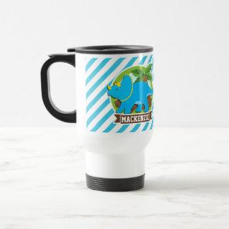 Triceratops Dinosaur; Sky Blue & White Stripes Travel Mug