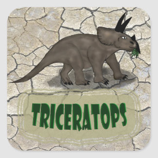 Triceratops Dinosaur Square Sticker